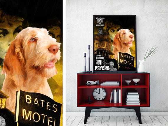 Spinone Italiano Art Cute but Psycho Dog Gift Vintage Movie Poster stars Norma Bates Burton Guster Dog lover Custom Dog Portrait from photo