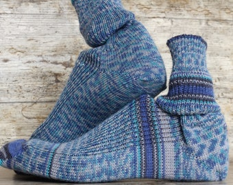 Wool knitted  socks - Hand Made and finished, handcranked  KNITTED winter MENS SOCKS hipster socks cosy feet  super soft delicate merino