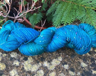 """100grms hand painted fingering weight yarn Merino /Donegal  nep """"Jades"""""""