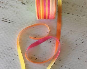 "May Arts Gypsy Variegate Silk 1/4"" ribbon, sold in 2 yd. increments, yellow/fuchsia/orange scrapbooking, card making, sewing, fabric arts"