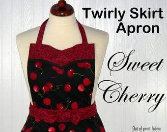 Twirly Skirt Apron, Sweet Cherry Retro 50s circle skirt, sweetheart neckline, flirty pin up, hostess apron, READY TO SHIP, very last one