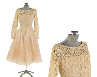 ON SALE Vintage 1960's Sheer Nude Cream Floral Lace Illusion Organza Skirt Party Prom Dress XS