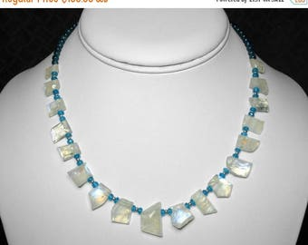 """Moonstone and Blue Apatite Necklace in Silver, 16"""""""