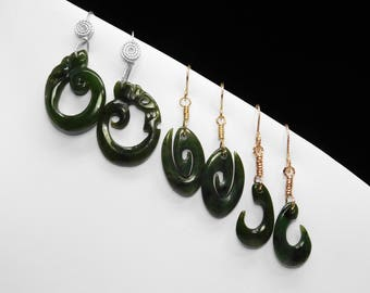 Carved Chinese Jadeite Earrings in Silver, Yellow, or Rose Gold, Choice of 10