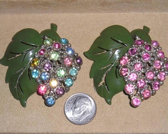 Vintage Pair Of A Like Enamel Dress Clips With Different Colored Rhinestones 1930's Jewelry  11100