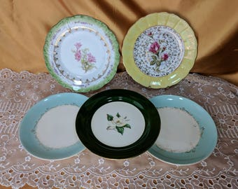 PICK A Salad Plate Green Yellow or Blue Rim *eb