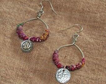 Tribal Hoop Earrings Jewellery Silver Hoops Sari Silk & Gypsy Coins Red Pink Indian Ear Rings Gipsy Wire Wrap Boho Dangle Jewelry Bohemian