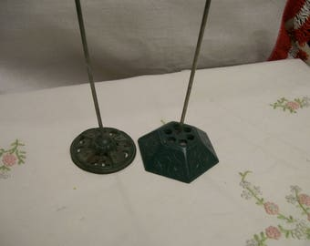 Antique Receipt Holder, Lot of 2, Counter Spike, Display, Prop, Cast Iron Receipt Spike, Green Metal Bases, Office Decor, Circa 1930s