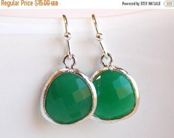 SALE Green Earrings, Silver Earrings, Palace Green, Wedding Jewelry, Bridesmaid Earrings, Bridesmaid Jewelry , Bridesmaid Gifts
