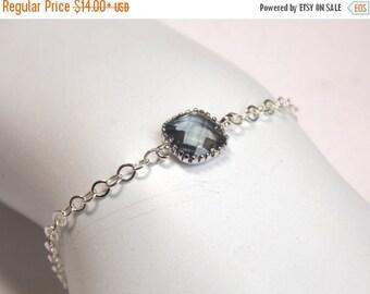 SALE Gray Bracelet, Glass Bracelet, Charcoal, Grey, Sterling Silver Bracelet, Wedding Jewelry, Bridal, Bridesmaids Bracelet, Bridesmaid Gift