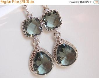 SALE Gray Earrings, Charcoal Earrings, Glass, Silver, Dangle, Grey, Bridesmaid Jewelry, Wedding Jewelry, Bridesmaid Earrings, Bridesmaid Gif