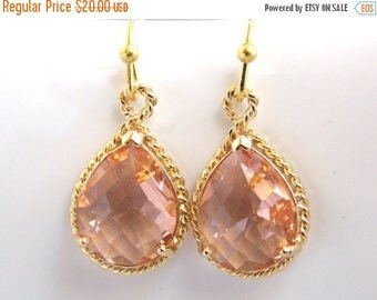 SALE Peach Earrings, Champagne Earrings, Glass, Drop, Dangle, Gold, Wedding Jewelry, Bridesmaid Earrings, Bridal Earrings, Bridesmaid Gifts