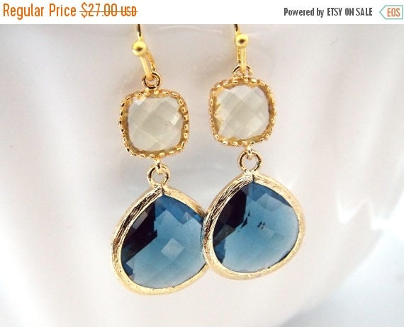 SALE Blue Earrings, Glass Earrings, Yellow Earrings, Jonquil, Gold Earrings, Wedding, Bridesmaid Earrings, Bridal, Bridesmaid Gifts