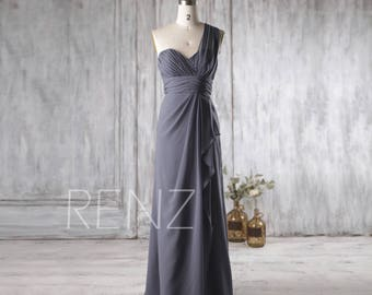 2017 Steel Blue Bridesmaid Dress, Sweetheart Wedding Dress, One Shoulder Prom Dress Backless, Asymmetric Formal Dress Floor Length (H225)