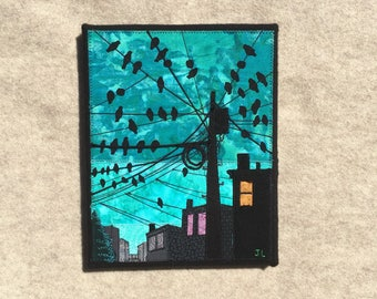 The Birds, 8x10 inches, original sewn fabric artwork, handmade, freehand appliqué, ready to hang canvas