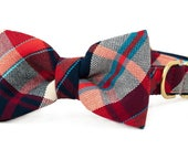 Crew LaLa™ Red Twill Flannel Bow Tie Dog Collar
