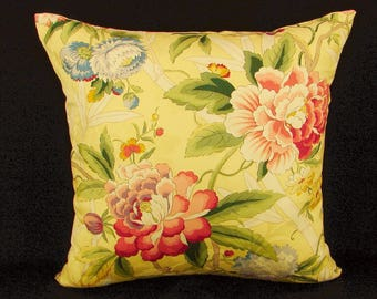 """18"""" x 18"""" Pillow Cover Yellow Floral Knife Edge"""