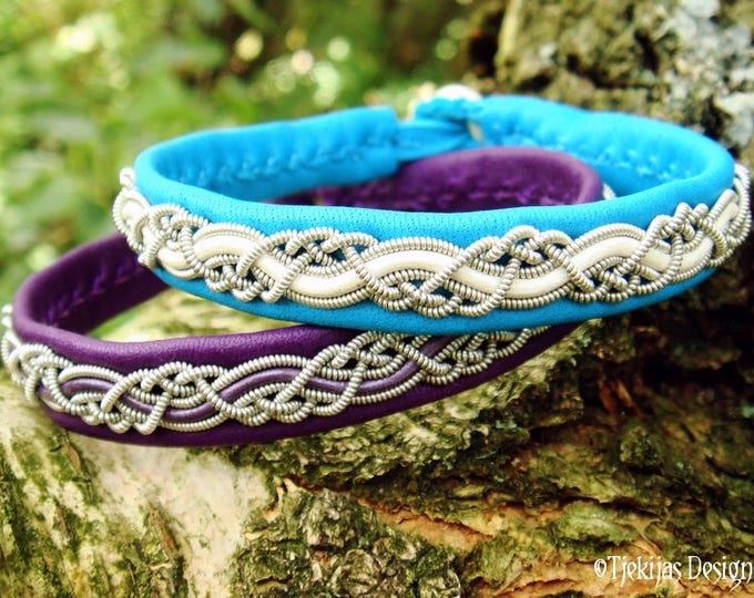 Viking Bracelet Cuff HUGINN Lapland Sami Bracelet in Turquoise Reindeer Leather with Pewter Braid - Custom Handmade to Your Wishes