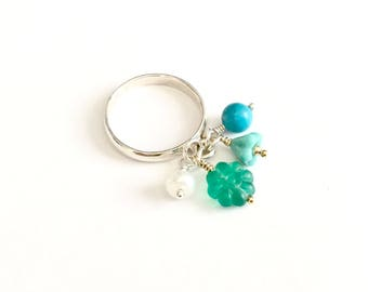 Something Sort Of Blue - Sterling Silver Dangle Bead Charm Ring