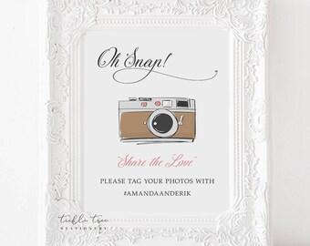 Printable Oh Snap Hashtag Photo Sign - Retro Fun 2