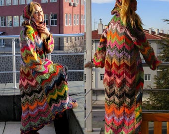 Long knit cardigan Oversized knitted cardigan Womens sweater Long womens coat Zig zag coat Long Hooded sweater long coat Hippie Coat Zig zag