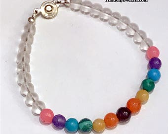 Clear Matte Quartz and Rainbow Pride gemstones bracelet, single strand bracelet, unisex bracelet, stack-able, PRIDE rainbow bracelet (BR5)