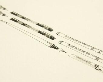 Pen - Japanese Washi Masking Tape - 8mm wide - 7.6 yard