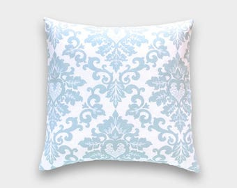 Snowy Blue Cecilia Pillow Cover. Choose a Size. Light Blue Floral Flowers Cushion Cover.