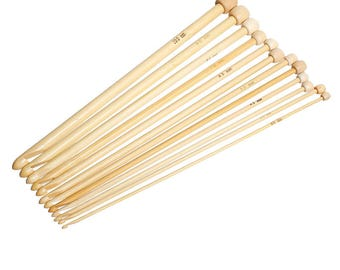 "10mm - 3mm Natural Bamboo Single Pointed Afghan Tunisian Crochet Hooks Needles Mixed 25.5cm(10"") - 25cm (9 7/8"") long, 1 Set ( 12 PCs/Set"