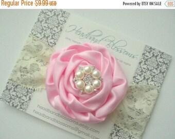 SALE Pearl Rhinestone Pink Satin Lace Headband - Newborn Baby - Flower Girl Wedding - Photo Prop - Valentine's Day