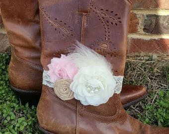 SALE Ivory and Blush Pink Buralp Boot Bracelet - Boot Band  - Wedding Boot Cuff - Boot Flower - Rustic Wedding - Boot Jewelry - Country Wedd