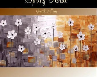 """SALE XL Original Modern 48"""" palette knife signature floral impasto oil painting Shades of Grays,whites,rust shades, by Nicolette Vaughan Hor"""