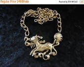 ON SALE Vintage Asian Dragon Necklace Retro Collectible Costume Jewelry 60s
