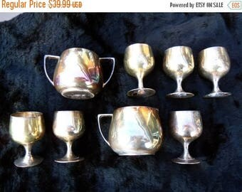 On Sale Vintage Brass Shot Glass Set of Eight Creamer Suger Plus 1960's Home Decor Housewares Mad Men Mod Mid Century Tableware Dinnerware B