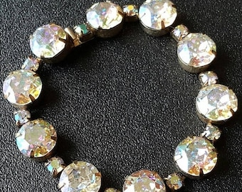 On Sale Vintage Kramer Designer Signed Rhinestone Chunky Bracelet - Mid Century 1950's 1960's Collectible High End Hard To Find Jewelry