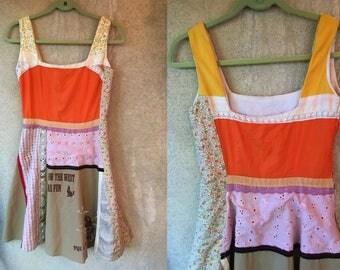 Patchwork Cowboy Western Squaredance Floral Hippie Bohemian Color Block Prairie Dress