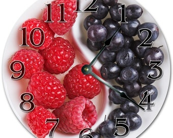 """10.5"""" Mouthful Of STRAWBERRIES AND GRAPES Clock - Living Room Clock - Large 10.5"""" Wall Clock - Home Décor Clock - 5099"""