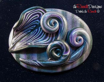 Purple and Green Hair Clip with Leaf and Swirls