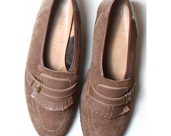 Vintage 60s Mannish Mocassin Loafers Flat Shoes UK 7 US 9.5 EU 41