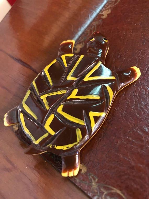 Vintage Bakelite Turtle Brooch Hand Carved 2x3 Inches