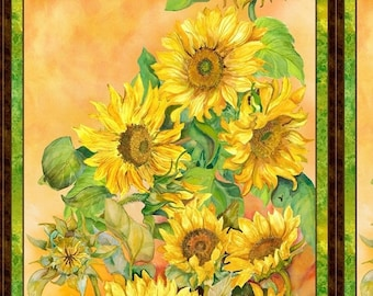 20% off thru 2/22 Last One--fabric panel  SLICE OF SUNSHINE-sunflowers-yellow- by Wilmington Fabrics- 24 by 44 inches
