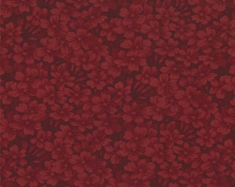 15% off thru Mar.19th moda fabric by 1/2 yard 9419-16 Kansas Troubles Quilters Favorites II- dark red  floral tone on tone