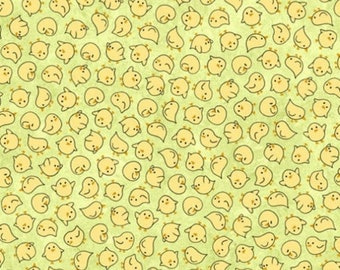15% off thru Mar.19th SHEEPS & PEEPS-by the half yard by QT fabrics-tossed yellow chicks on green-25752-H Quilting Treasures