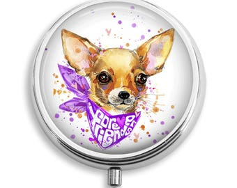 Forever Friends Chihuahua Wearing Bandana Illustration Pill Box Case Trinket Box Vitamin Holder Medicine Box Mint Tin Gifts For Her