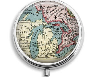 Antique Map Great Lakes Michigan USA Canada Pill Box Case Trinket Box Vitamin Holder Medicine Box Mint Tin Gifts For Her