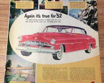 1952 Dodge car magazine ad