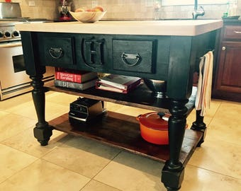 The Monogrammed Butcher Block Kitchen Island