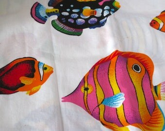 "Vintage Fabric - Neon Tropical Fish - 48""L x 44""W - 1970's - Aquatic material - textile - sewing supply - Retro"