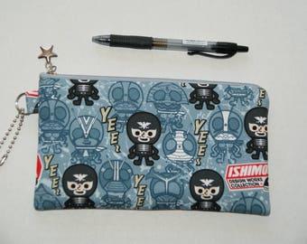 "Padded Zipper Pouch / Pencil Case / Cosmetic Bag Made with Japanese Cotton Oxford Fabric ""Shocker - Kamen RIders"" Smoky blue"