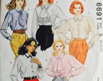 McCall's 6691, Size 8-10-12, Misses' Shirts, Ascot and Jabot Pattern, UNCUT, Loose Fitting, Retro, High Fashion, Vintage Pattern,Career Wear
